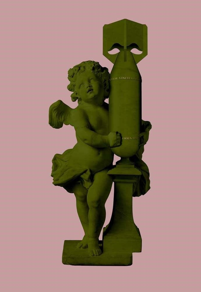 Cupid, Amor Vincit Omnia (Love Conquers All) (Army Green) artwork by Magnus Gjoen