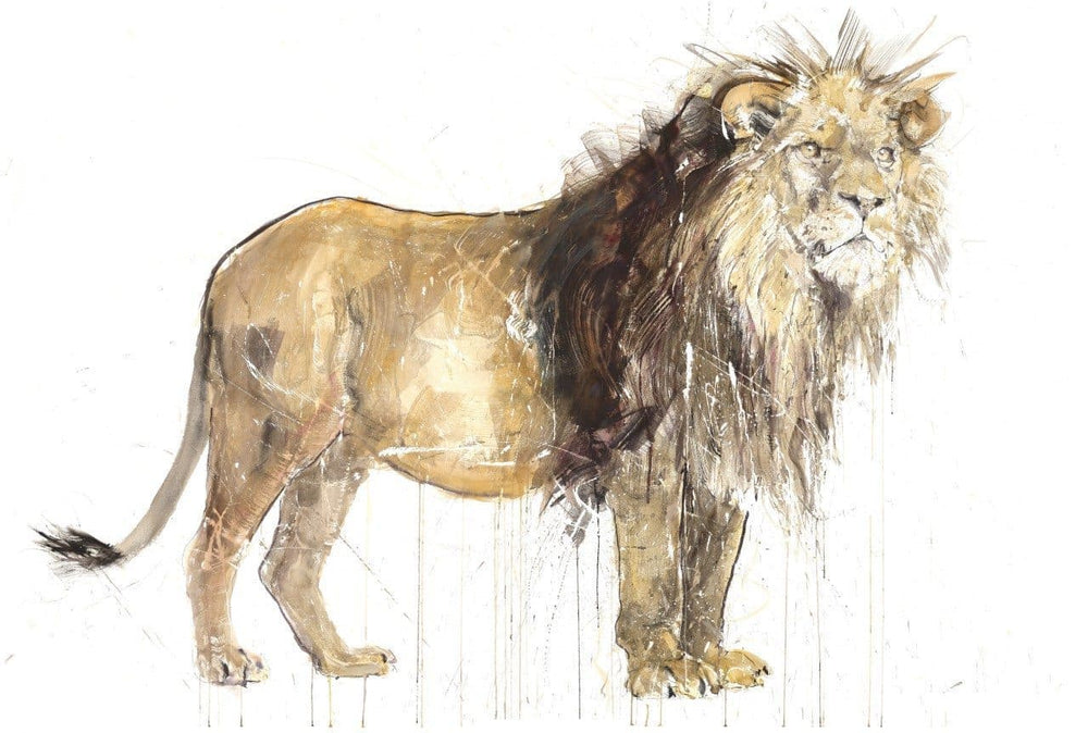 Lion, Gold Leaf by Dave White | Enter Gallery