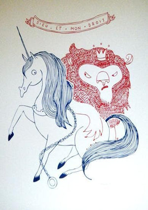 Lion and Unicorn artwork by Keeki