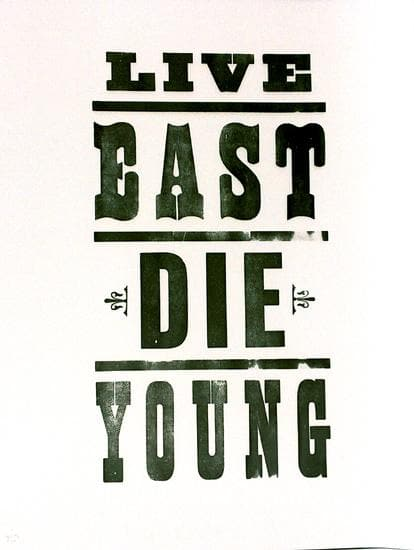 Live East Die Young White artwork by Pure Evil