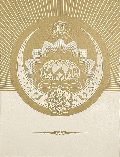 Obey Lotus Crescent White and Gold artwork by Obey (Shepard Fairey)