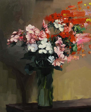 Red Pink and White Flowers After Fantin-Latour artwork by Chris Kettle