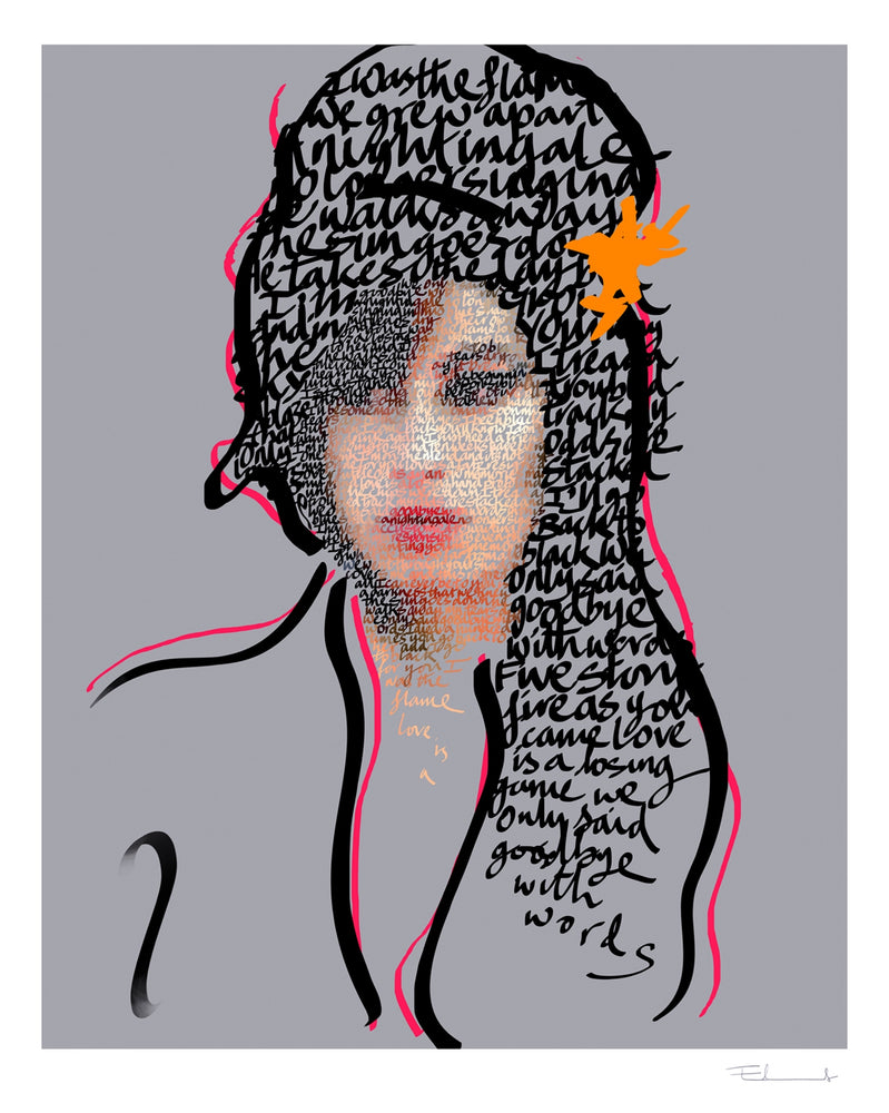 Amy Winehouse, We Only Said Goodbye With Words artwork by Mike Edwards
