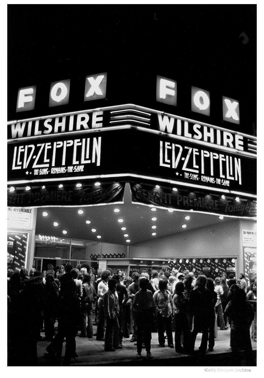 Led Zeppelin Song Remains The Same Premier Marquee Art Print By Michael Ochs Enter Gallery