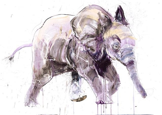 Young Elephant II, Large Diamond Dust artwork by Dave White