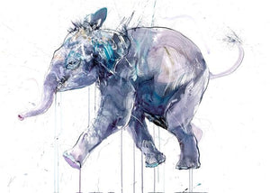 Young Elephant I, Large Diamond Dust artwork by Dave White