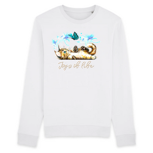 Felpa donna Organic - Joys of life - Sweat-shirt - Rise - Stanley - DTG - T-Pop - AnimalStories.shop