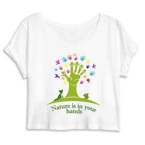 T-Shirt donna Organic - Nature in the hands - AnimalStories.shop
