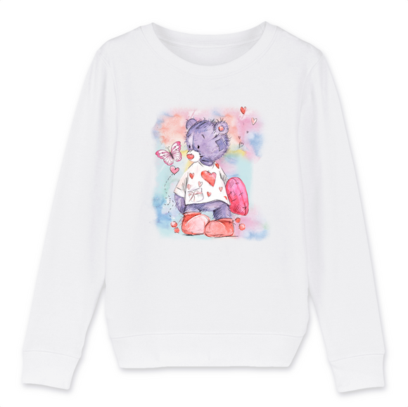 Felpa Kid Organic - Bear and butterfly - Child Sweat-shirt Mini Changer - Stanley/Stella - DTG - T-Pop - AnimalStories.shop