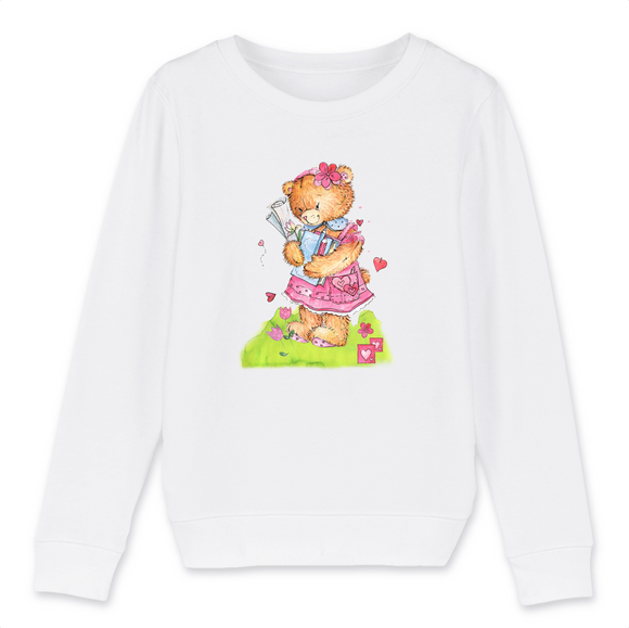 Felpa Kid Organic - Bear girl study - Child Sweat-shirt Mini Changer - Stanley/Stella - DTG - T-Pop - AnimalStories.shop