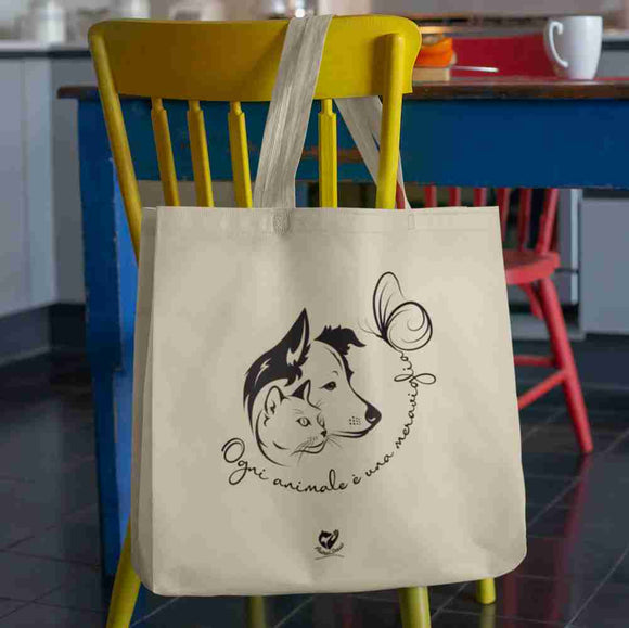 Shopping bag Organic - Dog and Cat - Shopping Bag Stanley/Stella blanc cassé - DTG - T-Pop - AnimalStories.shop