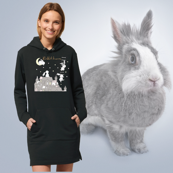 Felpa lunga Organica - Rabbit Dreams - Hoodie - Streeter - Stanley - DTG - T-Pop - AnimalStories.shop