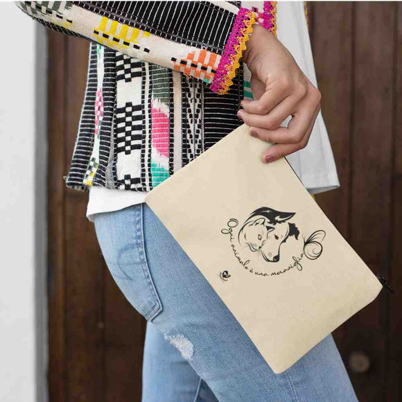 Pochette in tela Organic - Dog and Cat - Pochette maquillage - DTG - T-Pop - AnimalStories.shop