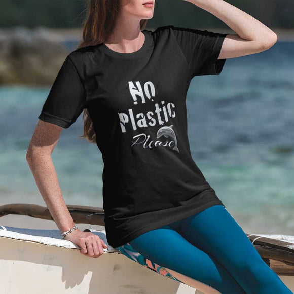 T-Shirt unisex Organic - No Plastic Dolphin - AnimalStories.shop