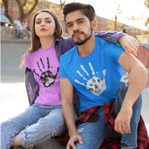 T-Shirt unisex Organic -Give me five Cat - AnimalStories.shop