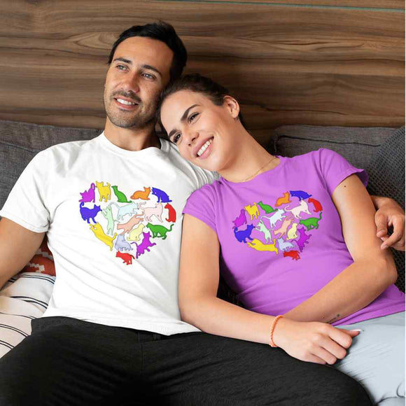 T-Shirt unisex Organic - Lovely cats - AnimalStories.shop
