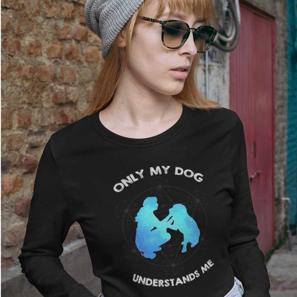 T-Shirt unisex Organic manica lunga - Only My Dog - AnimalStories.shop