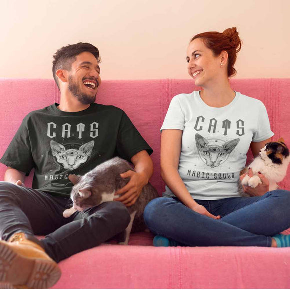 T-Shirt unisex Organic - Cats Magic Souls - AnimalStories.shop