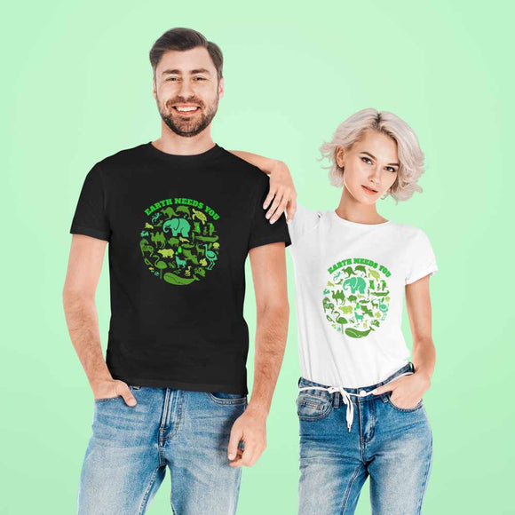 T-Shirt unisex Organic -Earth needs you - AnimalStories.shop
