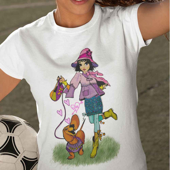 T-Shirt kid - Girl and his dog - AnimalStories.shop