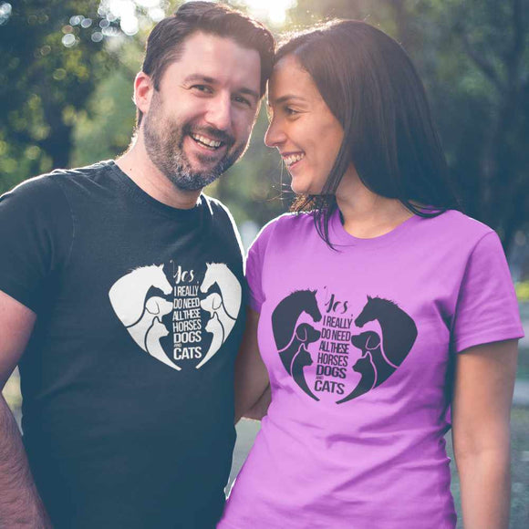T-Shirt unisex Organic - Horses Cats Dogs Love - AnimalStories.shop