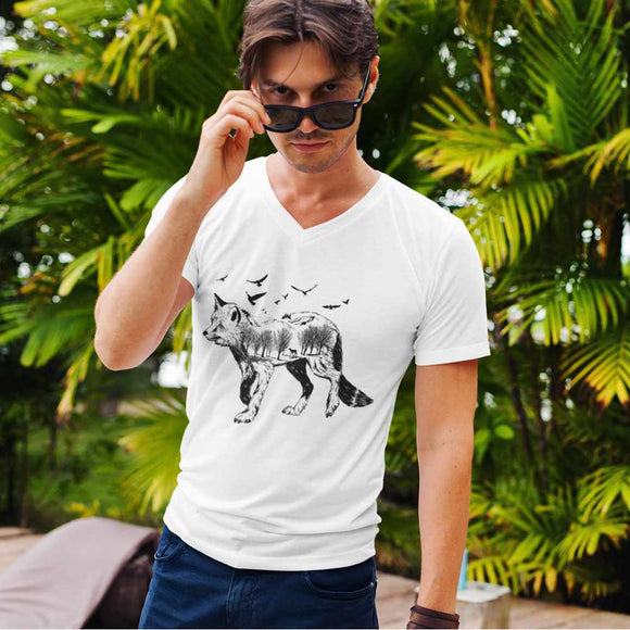 T-Shirt uomo Organic con scollo a V - Wildness - AnimalStories.shop