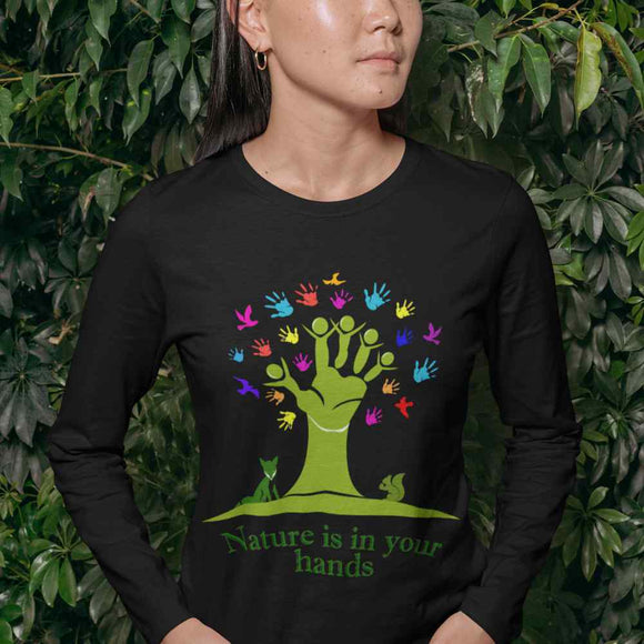 T-Shirt unisex Organic manica lunga - Nature in the hands