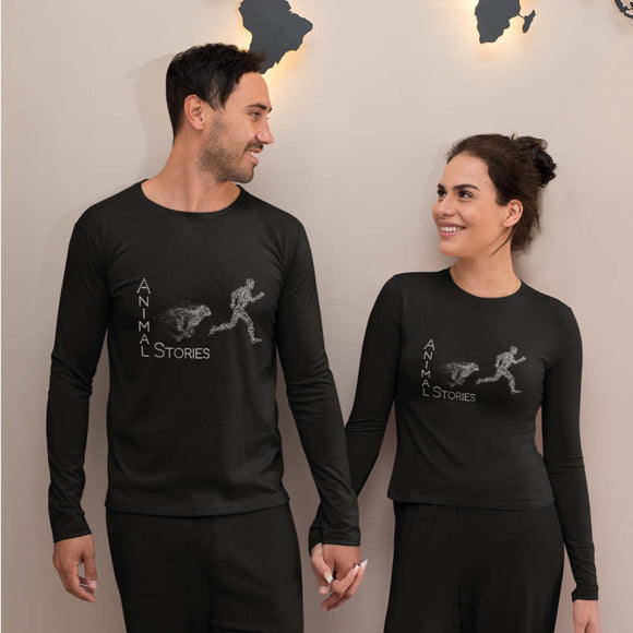 T-Shirt unisex Organic manica lunga - Man On The Run - AnimalStories.shop