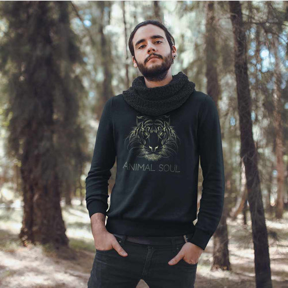 Felpa unisex Organic - AnimalSoul Tiger - Sweat-shirt - Rise - Stanley - DTG - T-Pop - AnimalStories.shop
