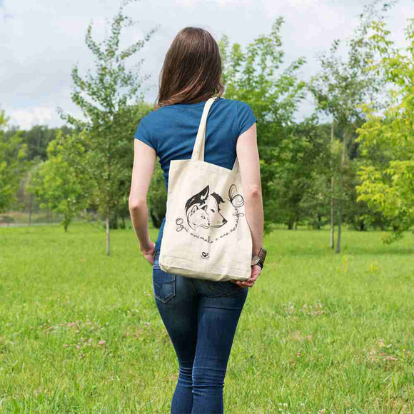 Totebag Organic - Dog and Cat - Totebag Stanley/Stella blanc cassé - DTG - T-Pop - AnimalStories.shop