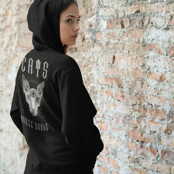 Felpa unisex con cappuccio Organic - Cats Magic souls - Hoodie - SIDER - Stanley - DTG - T-Pop - AnimalStories.shop