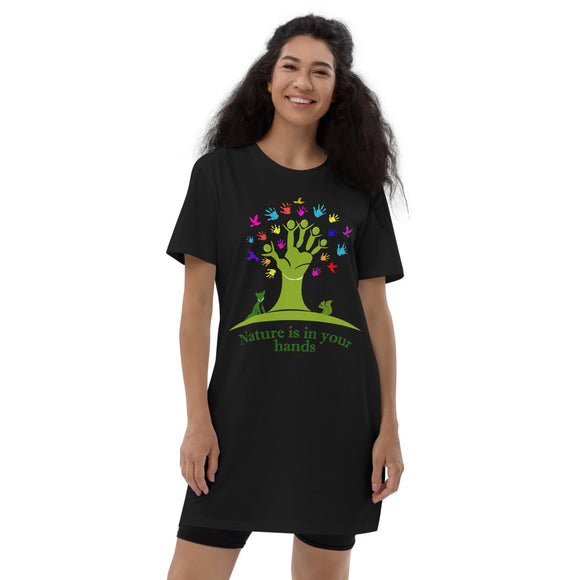 Vestito t-shirt da donna Organic - Nature in the hands - AnimalStories.shop