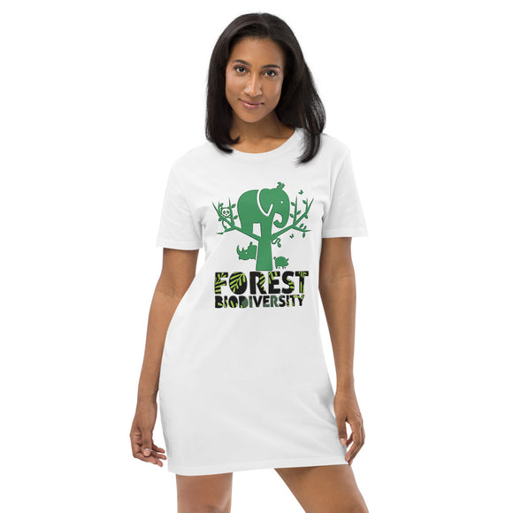 Vestito t-shirt da donna Organic - Forest biodiversity - AnimalStories.shop