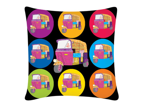 Cushion Cover, Square (Autorickshaw - Black)