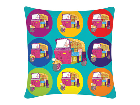 Cushion Cover, Square (Autorickshaw - Blue)