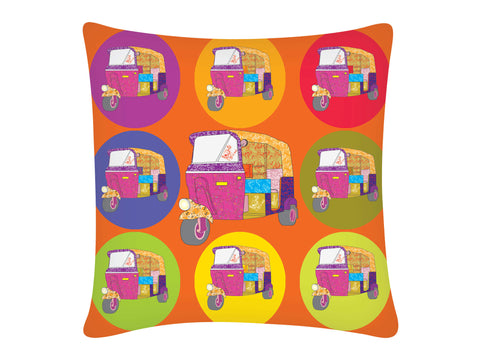 Cushion Cover, Square (Autorickshaw - Orange)