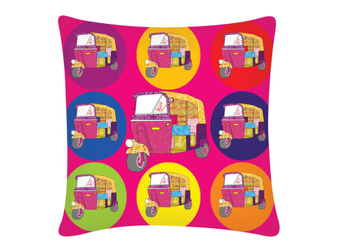 Cushion Cover, Square (Autorickshaw - Pink)
