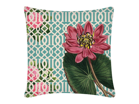Cushion Cover, Square (Jaali Lotus - Aqua)