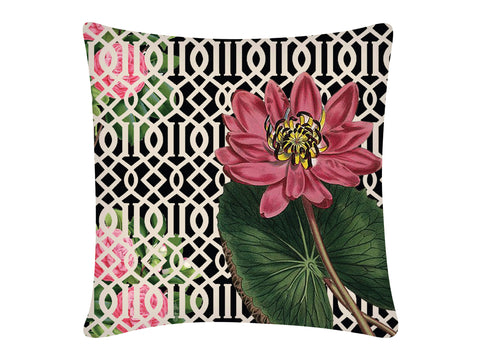 Cushion Cover, Square (Jaali Lotus - Black)