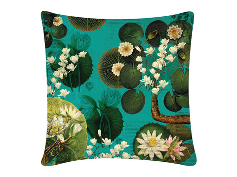 Cushion Cover, Square (Lotus Pond - Dark Aqua)