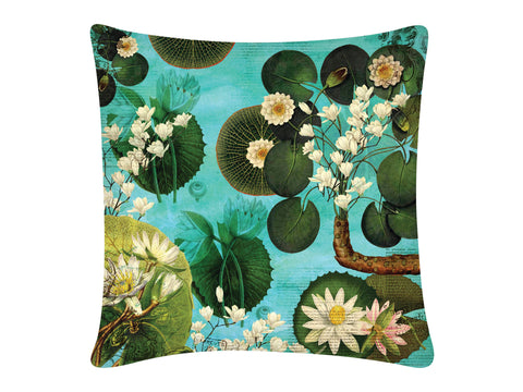 Cushion Cover, Square (Lotus Pond - Light Aqua)