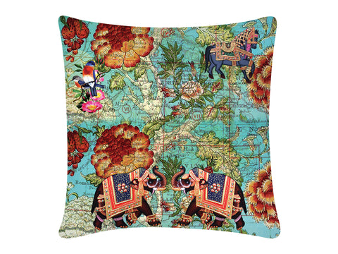 Cushion Cover, Square (Map Elephant - Blue)