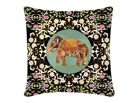 Cushion Cover, Square (Oriental Elephant - Black)