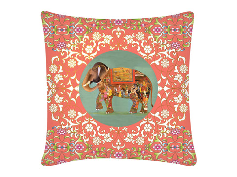 Cushion Cover, Square (Oriental Elephant - Peach)