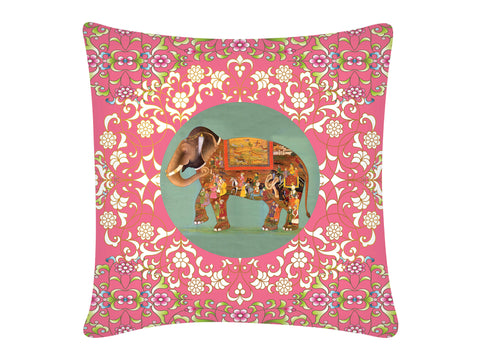 Cushion Cover, Square (Oriental Elephant - Pink)