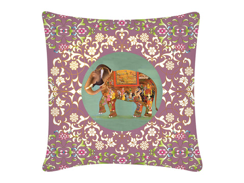 Cushion Cover, Square (Oriental Elephant - Purple)
