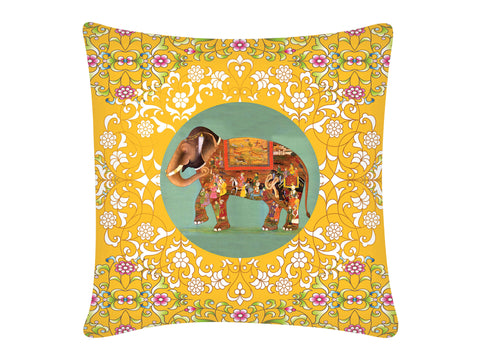 Cushion Cover, Square (Oriental Elephant - Yellow)