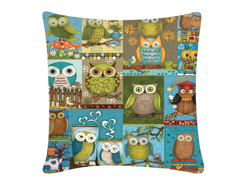 Cushion Cover, Square (Owls Collage)