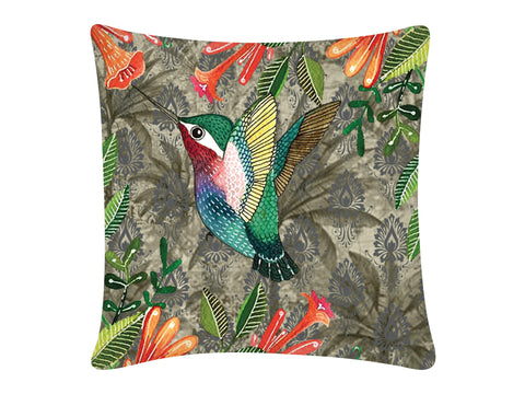 Cushion Cover, Square (Palm Bird -Grey)