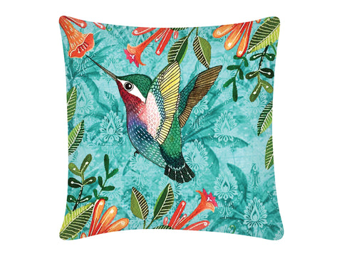 Cushion Cover, Square (Palm Bird - Light Aqua)